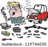 Vector cartoon of man fixing car - stock photo