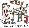 Vector cartoon of man gulping down vitamins - stock vector