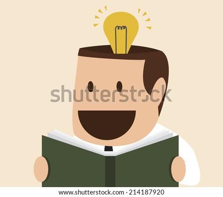 Vector cartoon of man reading a book which create idea - stock vector