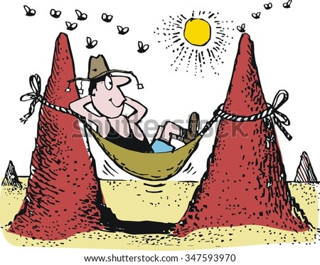Vector cartoon of man relaxing in hammock in Australian outback. - stock vector