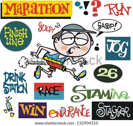 Vector cartoon of man running marathon with signs - stock vector