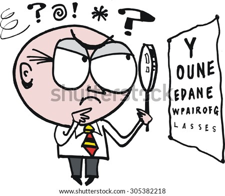 Vector cartoon of man squinting whilst looking at eye chart. - stock vector