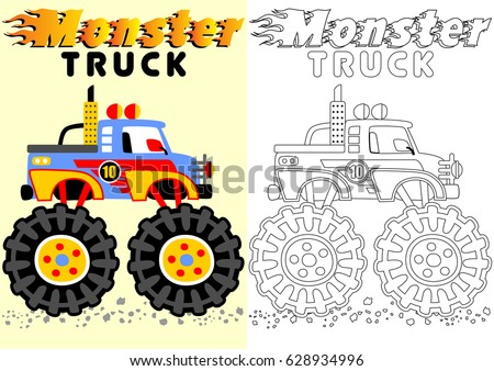 Vector Cartoon Of Monster Truck Coloring Book Or Page