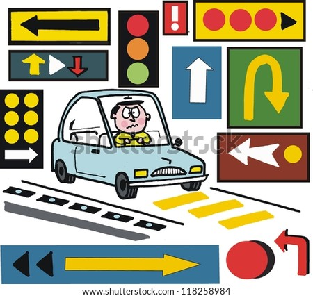 Vector cartoon of motorist with confusing road signs.