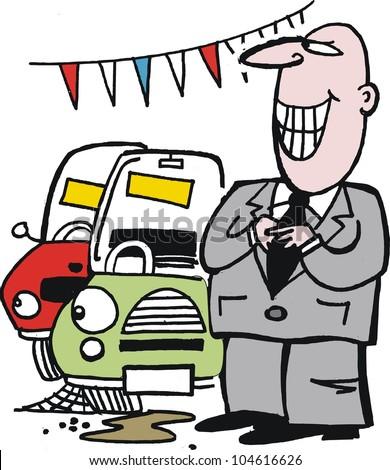 Vector Cartoon Shifty Car Salesman Vehicles Stock Vector ...