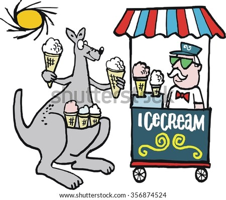 Vector cartoon of smiling kangaroo buying ice cream from stall vendor on hot day.  - stock vector
