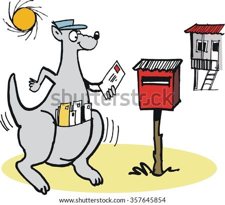 Vector cartoon of smiling kangaroo delivering old fashioned mail to letterbox.  - stock vector