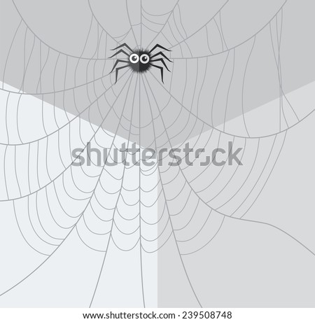 vector cartoon of spider and web network in the corner of the room - stock vector