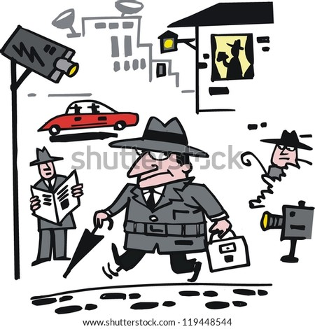 Vector cartoon of spies with security cameras.