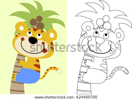 Vector Cartoon Tiger Climb Coconut Tree Stock Vector 624400700 ...