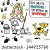 Vector cartoon of tired housewife mopping kitchen floor - stock vector