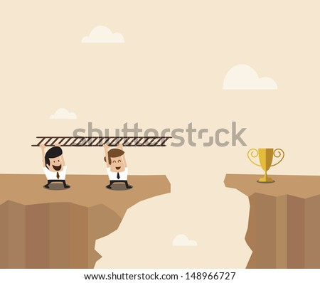 Vector cartoon of Two Businessman carry ladder to cross the space to destination