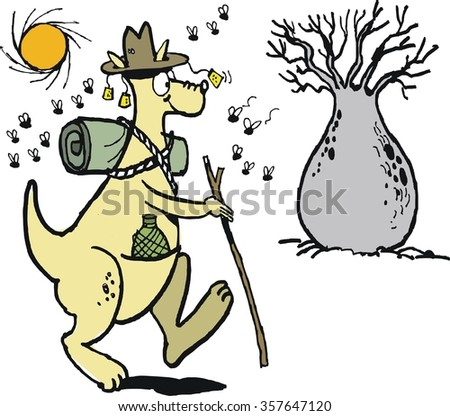 Vector cartoon of well equipped kangaroo hiking in Australian outback with blowflies.  - stock vector