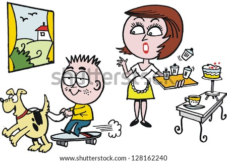 Vector cartoon of woman in kitchen with child playing on skateboard.