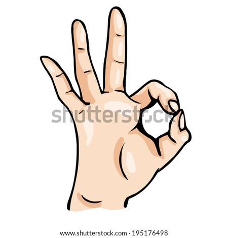 Vector Cartoon Ok Gesture - stock vector