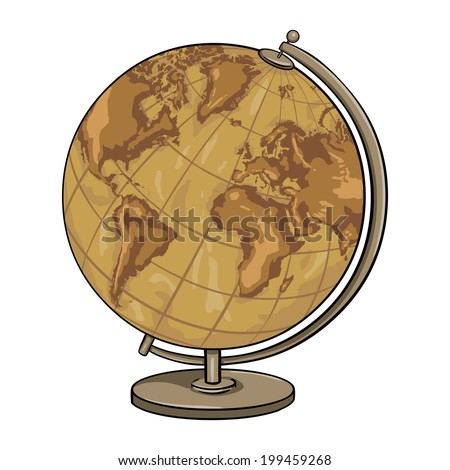 Vector Cartoon Old Antique Geographical Globe - stock vector