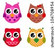 Vector cartoon owls set isolated on white - stock vector