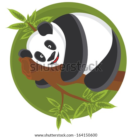 Vector cartoon panda - stock vector
