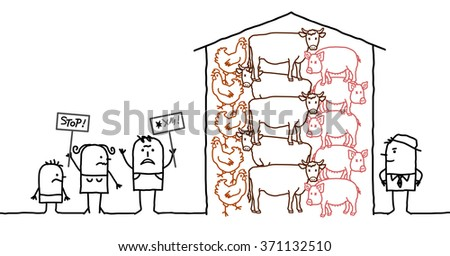 vector cartoon people saying NO to intensive  production of meat - stock vector