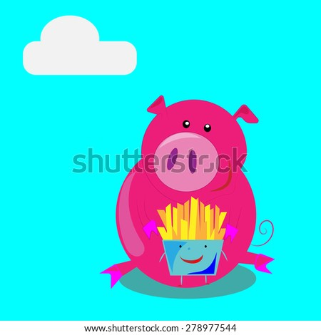 vector cartoon pig and fries.comics.pig eating a hamburger and then eat it - stock vector