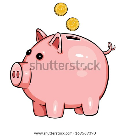 vector cartoon piggy bank - stock vector