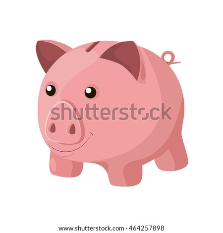 Vector cartoon piggy bank character on white background.