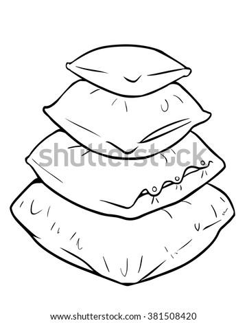 Vector Cartoon Pile Of Pillows
