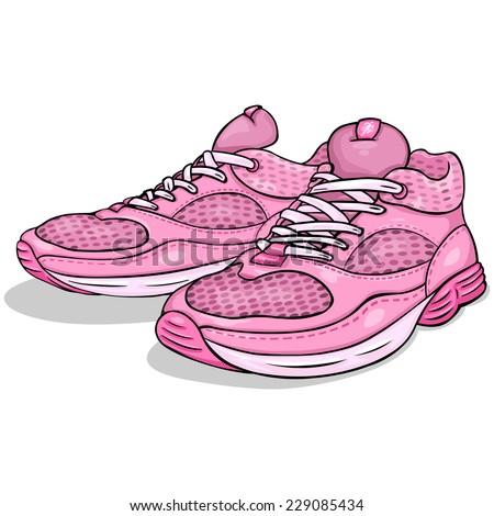 Vector Cartoon Pink Running Shoes - stock vector