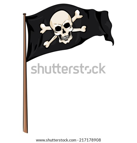 Vector  Cartoon Pirate Flag Fluttering in the Wind.  Skull and Cross Bones.