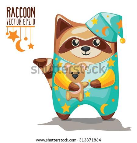 Vector Cartoon Raccoons.  Card with cute raccoon in pajamas. - stock vector