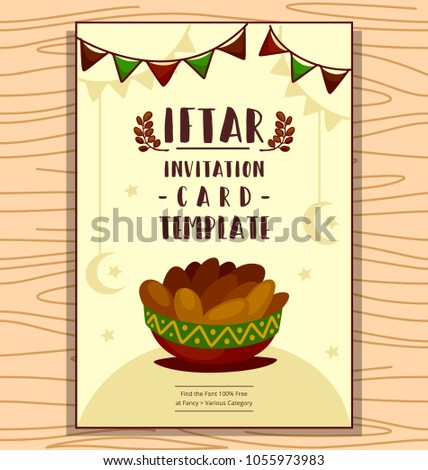 Vector cartoon ramadan iftar invitation card stock vector 1055973983 vector cartoon ramadan iftar invitation card banner template design with flat hand drawn date palm fruit stopboris Image collections