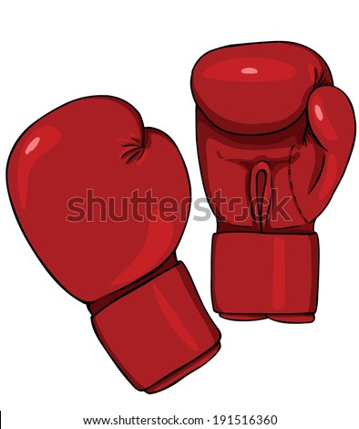 Vector Cartoon Red Boxing Gloves - stock vector