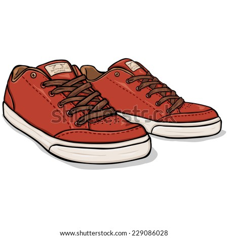 Vector Cartoon Red Skaters Shoes - stock vector