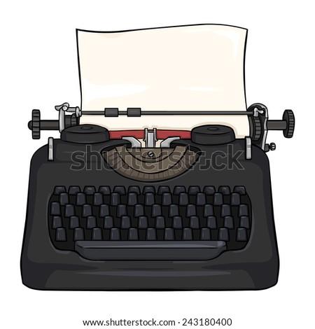 Vector Cartoon Retro Typewriter - stock vector