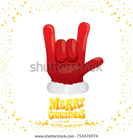 vector cartoon rock n roll Santa Claus with golden calligraphic greeting text isolated on white background with christmas star lights. Merry Christmas Rock n roll party poster design or greeting card.