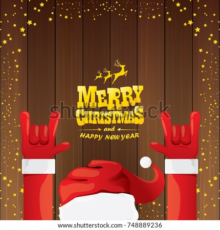 vector cartoon santa claus rock n roll style with golden calligraphic greeting text on wooden background
