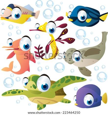vector cartoon sea animal set: fish, seahorse, dolphin, turtle, seal - stock vector