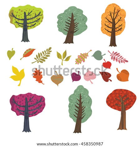 Vector cartoon set of autumn trees and colorful stylized leaves. Perfect for design posters, flyers, business cards, website, booklet and banner.