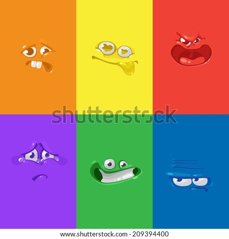 Vector cartoon set of different faces