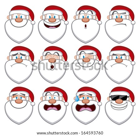 Vector Cartoon Set Of Different Santa Claus Faces - stock vector