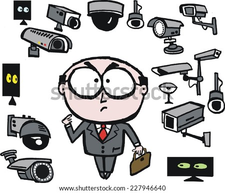 Vector cartoon showing business executive surrounded by security cameras. Big Brother is watching you. Spy cameras invading privacy using modern technology - stock vector
