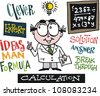 Vector cartoon showing scientist inspired by new idea. - stock vector