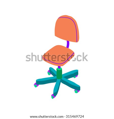 Vector cartoon simple hand drawn isometric wood chair icon. For ui, web games, tablets, wallpapers, and patterns. - stock vector