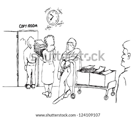 vector cartoon sketch drawing of workers waiting patiently to use a copy room