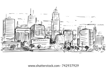Vector cartoon sketchy drawing city high stock vector for 2d building drawing