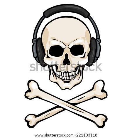 Vector Cartoon Skull with Headphones and Cross Bones - stock vector
