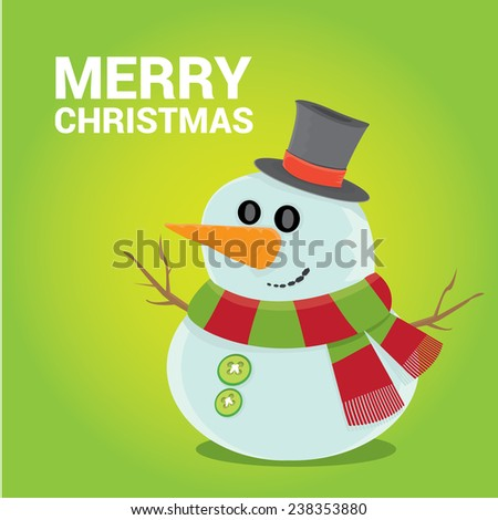 Vector cartoon snowman icon on green. Merry Christmas card design