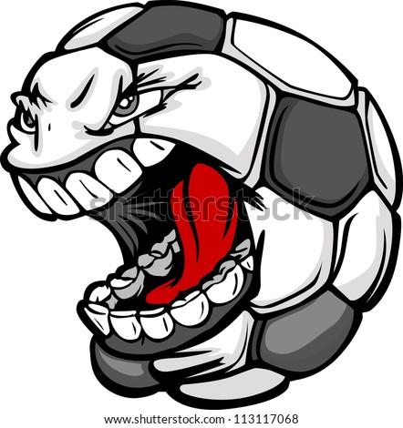 Vector Cartoon Soccer Ball with Screaming Face - stock vector