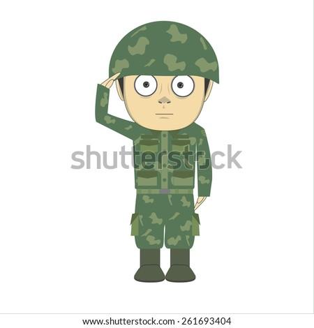Vector cartoon soldier - stock vector
