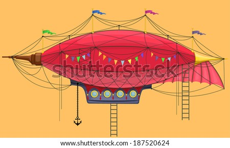 Vector cartoon steam punk dirigible - stock vector